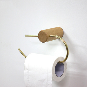 Image 2 - Nordic Bathroom Roll Holder Brass Solid Wood Wall Hanging Napkin Holder Gold Toilet Paper Towel Holder Kitchen storageshelf