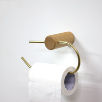 Nordic Bathroom Roll Holder Brass Solid Wood Wall Hanging Napkin Holder Gold Toilet Paper Towel Holder Kitchen storageshelf