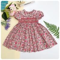 Spring Summer 2019 Girls Smocking Embroidery Dresses Floral Prints Doll Dress For kids Girl Princess Smocked Party Dresses