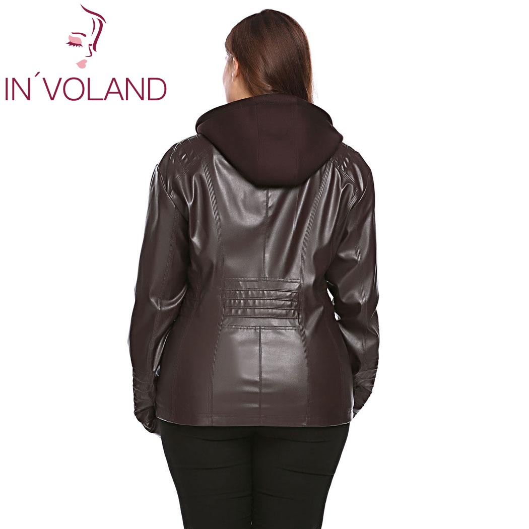 IN'VOLAND Big Size Women Jacket Coat Winter Autumn Hooded Long Sleeve Lady Large Faux-Leather Jacket Outerwear Plus Size 3XL