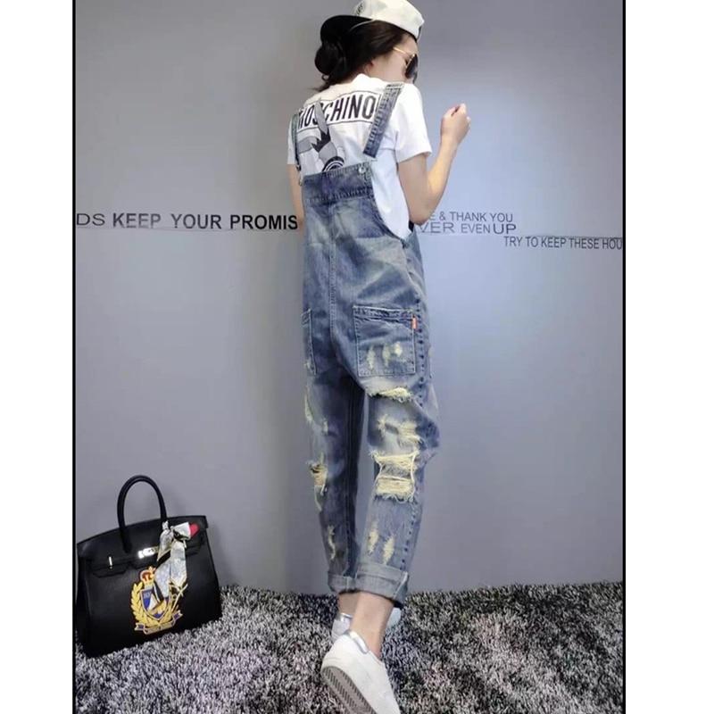 Denim Bib Female 2019 Spring And Summer Fashion New Loose Thin Large Size Hole Denim Bib Pants Nine Pants H00490 2