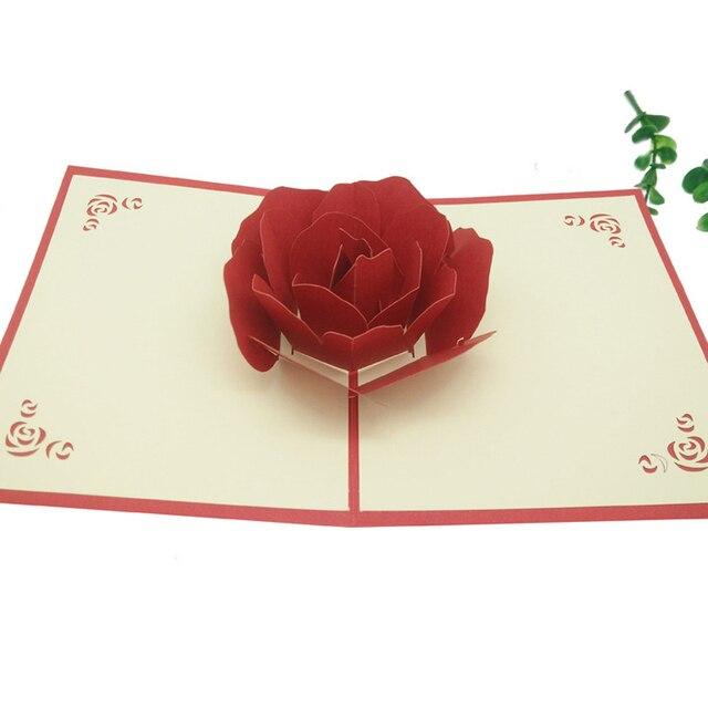10pcslot laser cut wedding invitations mothers day greeting card 10pcslot laser cut wedding invitations mothers day greeting card cubic rose flower 3d pop m4hsunfo