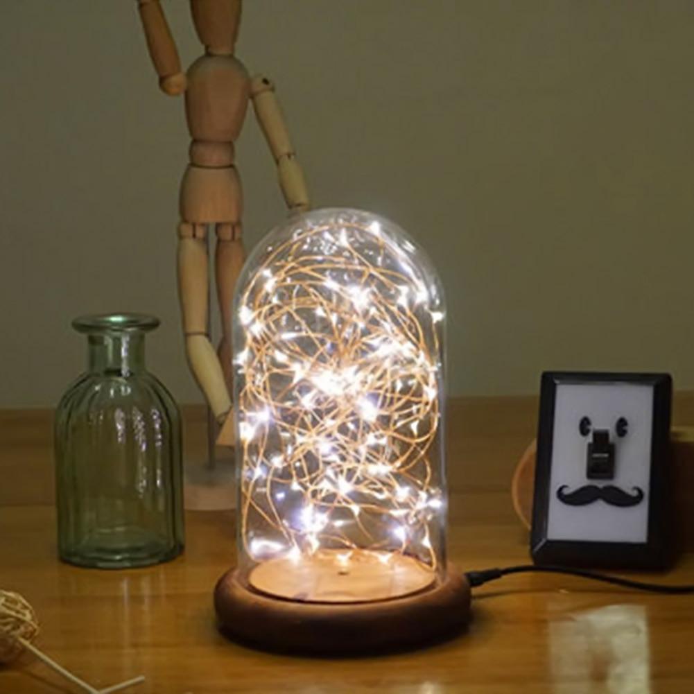 Modern LED Line Light Table Lamp Wood Glass Desk Lamp Transparent ... for Diy Sleep Lamp  76uhy