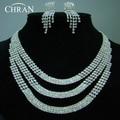 Elegante Rhinestone Rodio Mujeres Accesorios Nupciales Del Partido Del Collar Cristalino de La Manera Pendientes de la Joyería de La Boda Establece Regalos de La Promoción