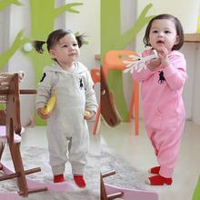 Fall Winter Unisex Baby Romper Long Sleeves Cotton kid's Jumpsuit Cartoon Horse Rider Hooded Clothes Pink+White Hot Sale Feb06