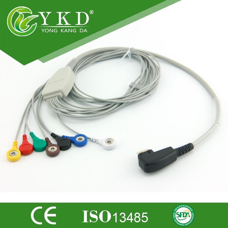 Offre spéciale! DMS 300-3,300-3A, 300-4A, 300-4MGY-H3, H3M 7 fils ecg holter câble, snap, AHA