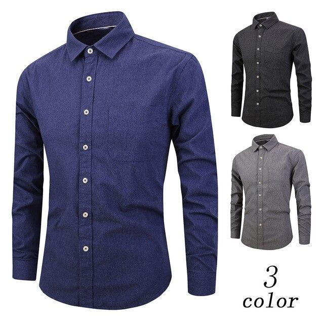 2019 100% Baumwolle Wolle Männer Shirts Langarm Feste Männliche Kleid Hemd Business Party Männer Kleidung Frühling Herbst Mann Hemd