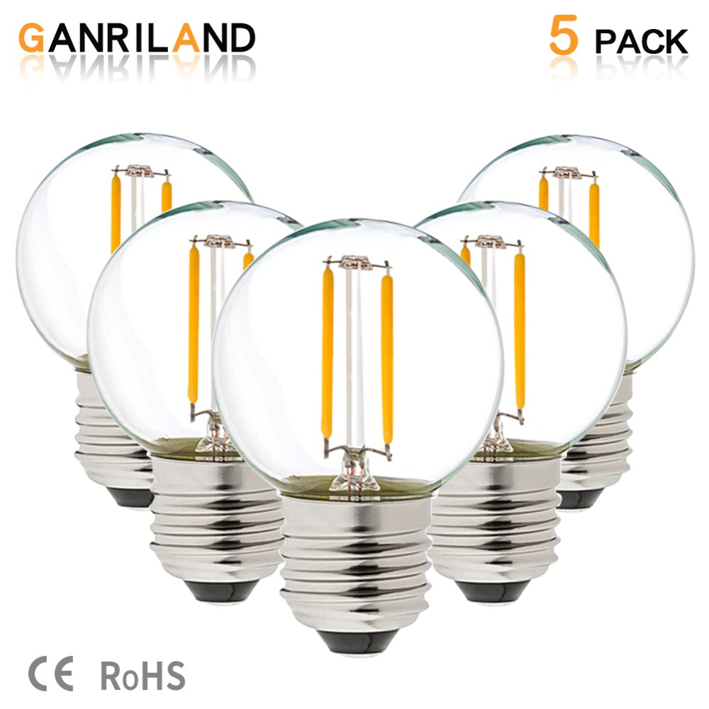 GANRILAND LED 12V-24V DC AC 1W E26 E27 COB Filament Light Bulb G40 Warm White 2700K LED Lamp Low Voltage Retro Edison 12V Bulbs