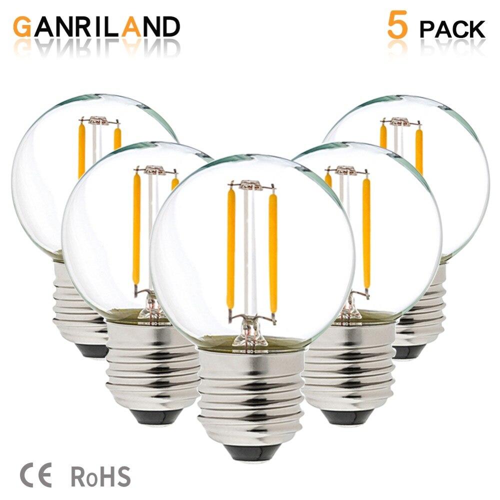 GANRILAND LED 12V-24V DC AC 1W E26 E27 COB Filament Light Bulb G40 Warm White 2700K Lamp Low Voltage Retro Edison 12V Bulbs