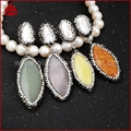Elegant Pearl Women Drop Earrings Hot sale Pearl &Natural Rose Quartz With Black Gun Zircon Dangle Earrings Druzy Earrings  J03