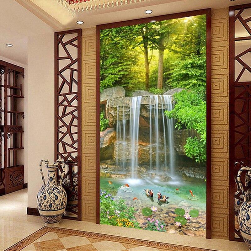 Custom 3D Photo Wallpaper Nature Landscape Large Mural Wallpaper For Living Room Entrance Corridor Waterfall Background Mural