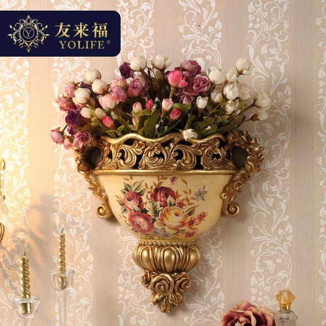 Yolife European Modern Wall Vase Decorative Retro Artificial Flowers