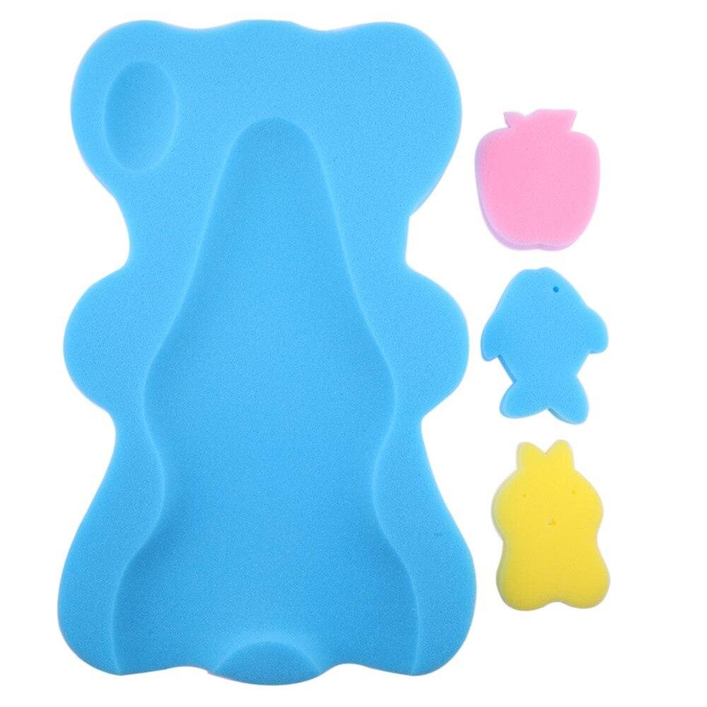 Baby Shower Sponge Cushion Bath Holder Mesh Pocket Newborn Seat Baby Bath Pad Soft Cushion Bed Infant Anti-slip Bear Design ...