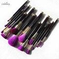 Marca de Calidad Original de Edición Limitada 15 unids Profesional Maquillaje Pinceles Set + Púrpura Natural Del Cabello
