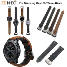 22mm Genuine Leather for Samsung Gear S3 frontier classic Watch strap For Samsung Galaxy Watch 46mm Watchband Bracelet wristband