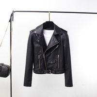 2019 autumn new women jacket Europe and America short paragraph lapel locomotive coat with a small pu leather belt PZ88