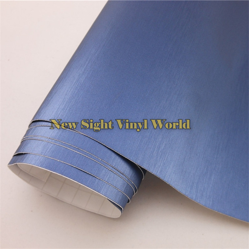 High Quality Blue Brushed Aluminium Film For Car Wrapping With Air Bubble Free Size: 1.52*30M/Roll