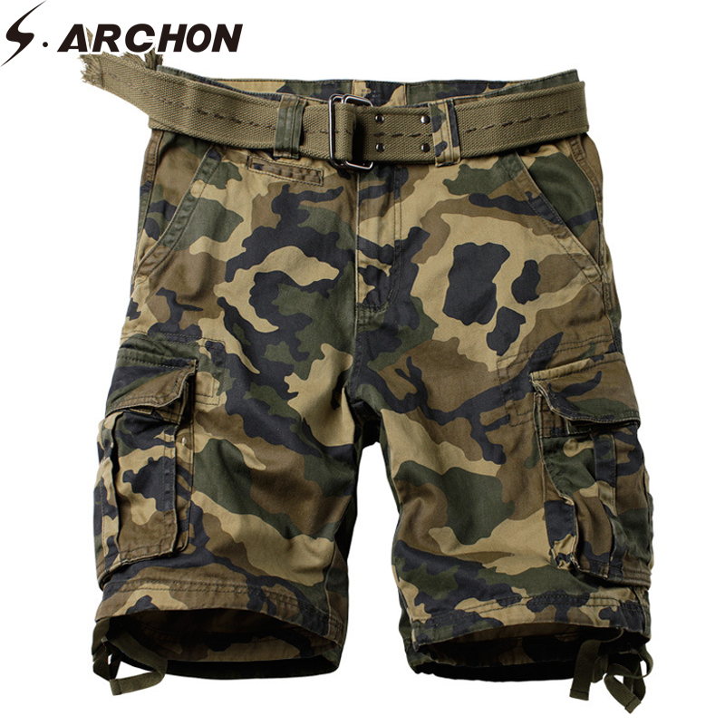 S.ARCHON Military Style Camo   Short   Cotton Tactical Army Work Cargo   Short   Casual Multi-pocket   Shorts   Male Plus Size 29-42