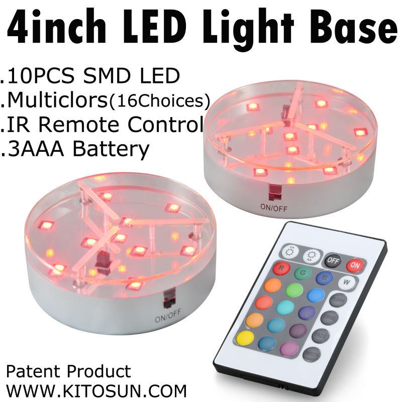4inch 10CM Round Shape Multicolors RGB LED Under Vase Light Base For Wedding Party Events Holidays Centerpiece Decor With Remote