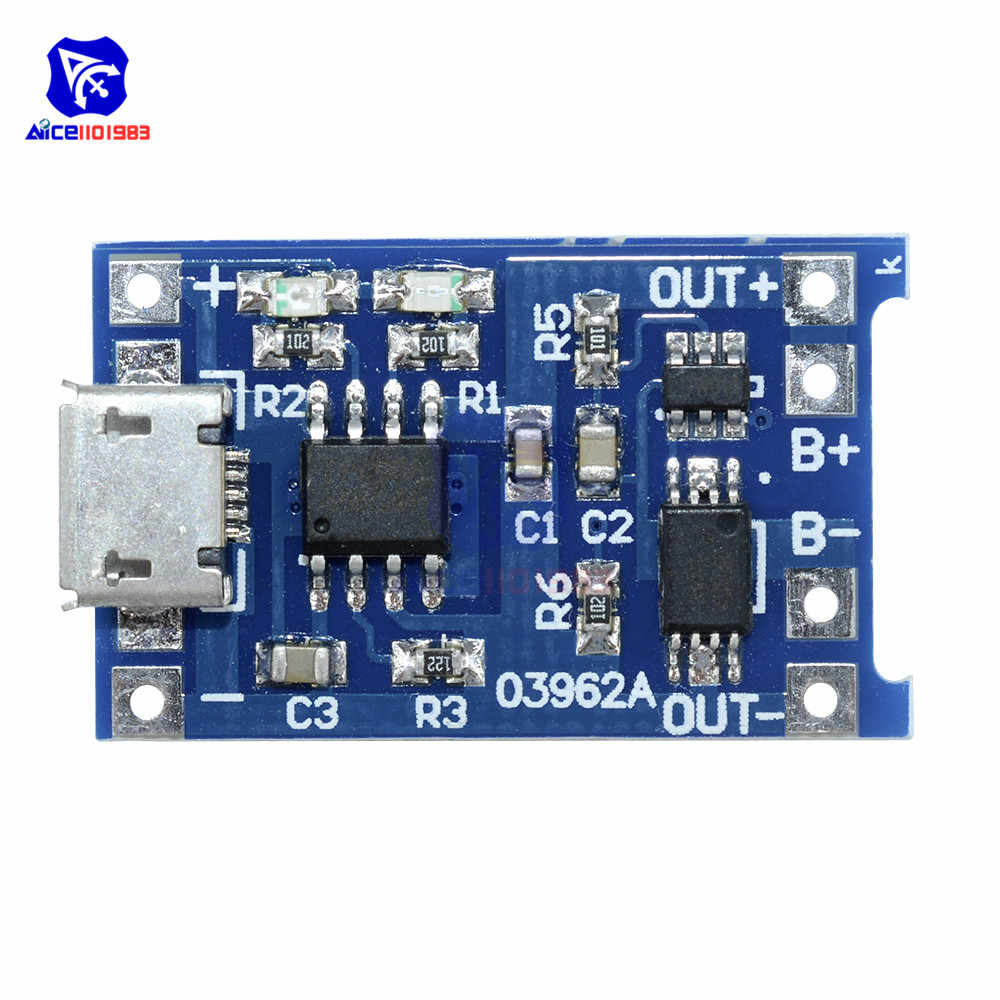 5PCS/Lot Micro USB 5V 1A 18650 TP4056 Lithium Battery Charger Module with LED Indicator Over Charge Discharge Protection Board