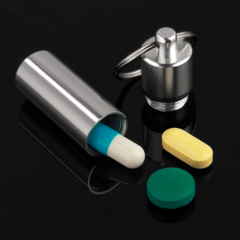 цена на Worldwide Keychain Pill Box WaterProof Aluminum Drug Pill Cases Bottle Holder Container For Medicines 2017 Hot Sale Pillbox