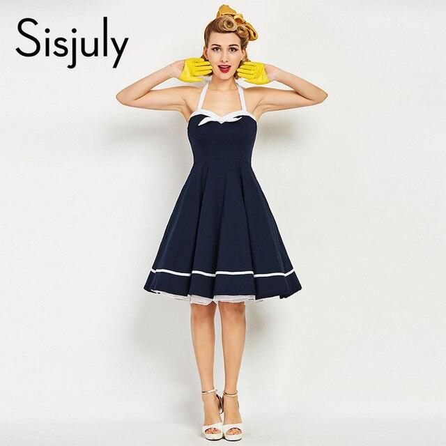 Sisjuly mujeres vintage vestido estilo náutico bowknot sexy vestidos retro  lujo azul oscuro Correa femenina del b67d39460f90