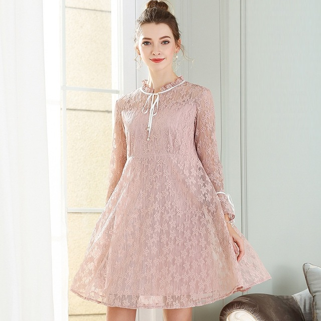 2017Spring Female Plus size elegant empire cute Lace dress Ruffed collar  butterfly sleeve flare dress beautiful b11a45175c1b