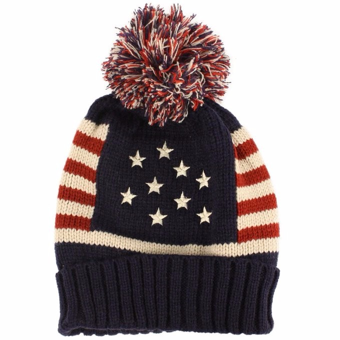 Winter Vintage Stars Stripe Knit USA Flag Beanie Skull Ski Pom Pom ... 9dec0a802401