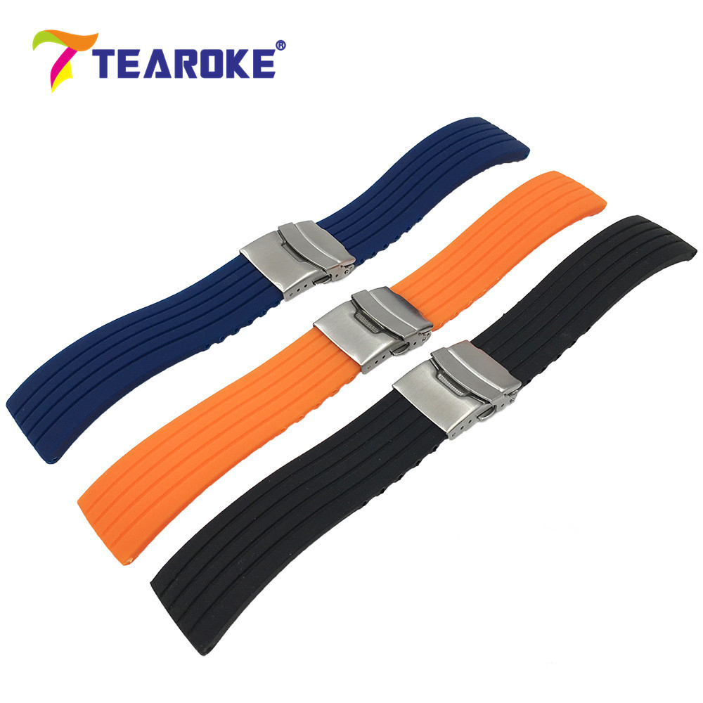 TEAROKE 3 Colors Striped Silicone Watchband 18 20 22 24mm Soft Rubber Double Push Folding Clasp Deployment Buckle Watch Band tearoke butterfly deployment watch band double push button fold strap buckle clasp 16 18 20 22 24mm gold rose gold silver
