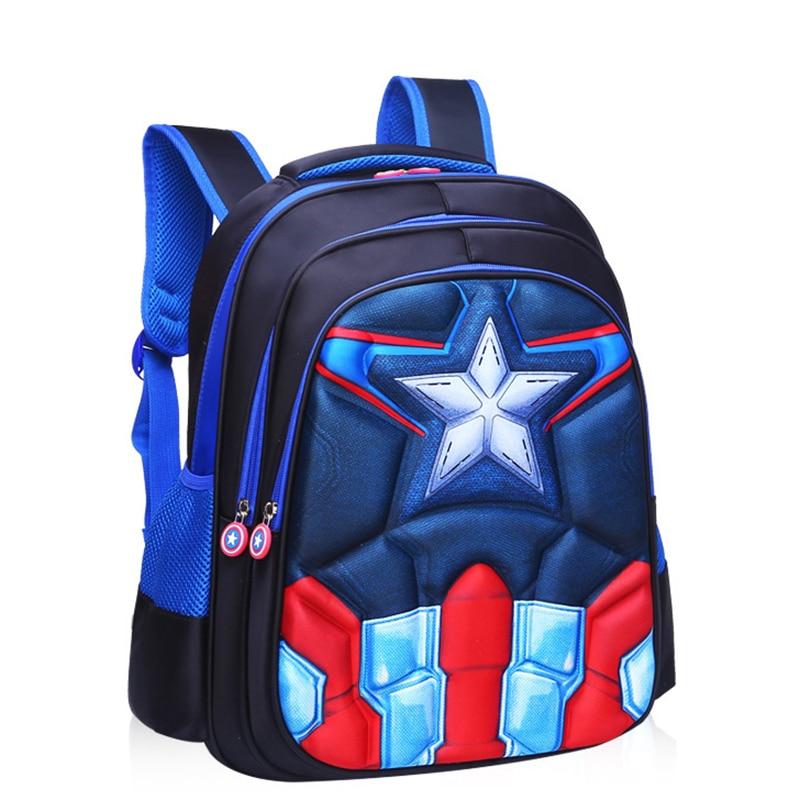For Boys Girls Children Primary Students Superhero Backpacks Childrens Backpack Boys Captain America School Bags  4 Styles Q2