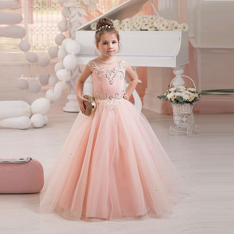 Beaded Pearls Long Pretty Pink Puffy Dress For Kids