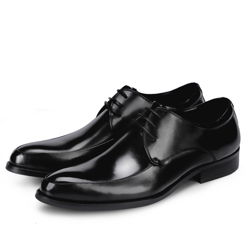 Men Business Shoes Genuine Leather Pointed Toe Lace-Up Oxford Shoes Plus Size Formal Dress Shoes England Causal Wedding Shoes pointed toe fashion winter men formal shoes genuine leather cow lace up dress shoes wedding shoes male business work shoes