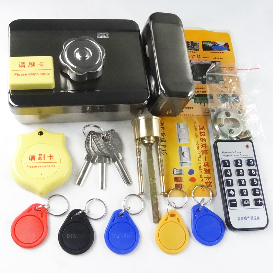 Automatic Electric Door gate lock castle Access Control Electronic integrated RFID Door Rim lock IC reader for intercom 10tags lpsecurity battery powered 12vdc 13 56 ic rfid reader electric gate door lock access control system kit with 10tags or tm tag