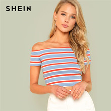 659d2abfb17813 SHEIN Rib Knit Striped Bardot Tee Women Off The Shoulder Short Sleeve Slim  Crop T-shirt 2018 Summer Female Sexy Party Top Tee