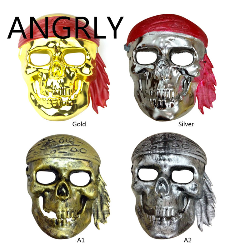ANGRLY Ball Halloween Props Horror Mask Ghost Festival Caribbean Pirate Gold Multicolor Selection Haunted House Masks Gifts