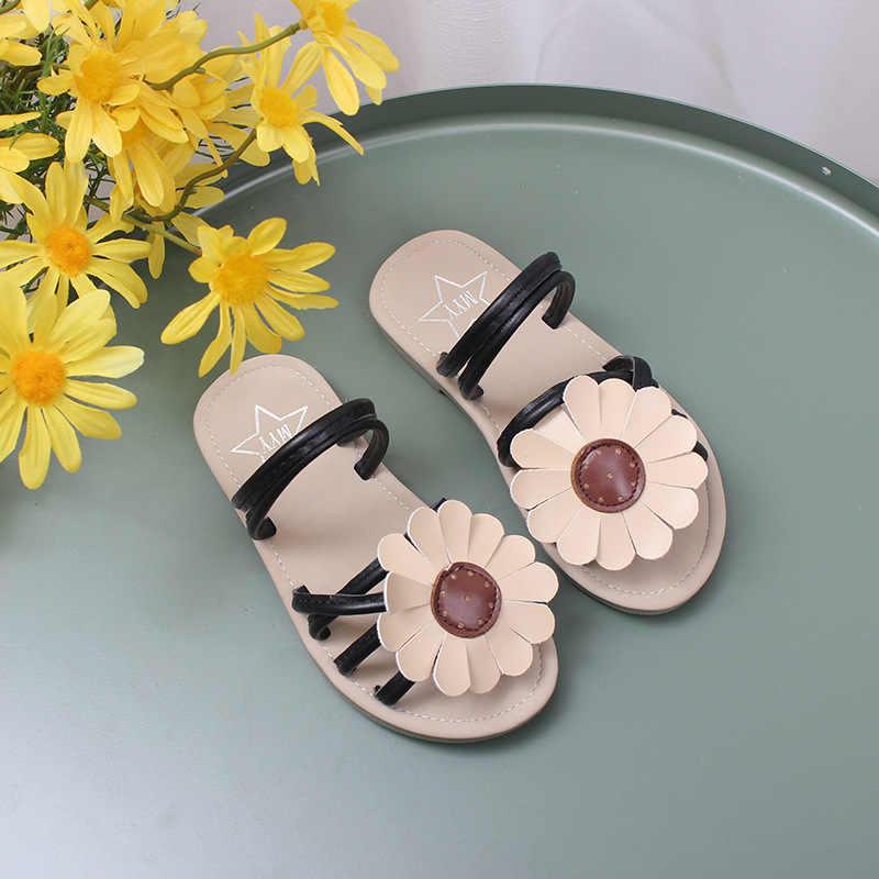 ฤดูร้อน 2019 เด็กใหม่ดอกไม้รองเท้าแตะรองเท้าเด็กผู้หญิงรองเท้าเด็กชายหาดเด็กวัยหัดเดิน Pu หนังสไลด์สีชมพูยี่ห้อรองเท้า