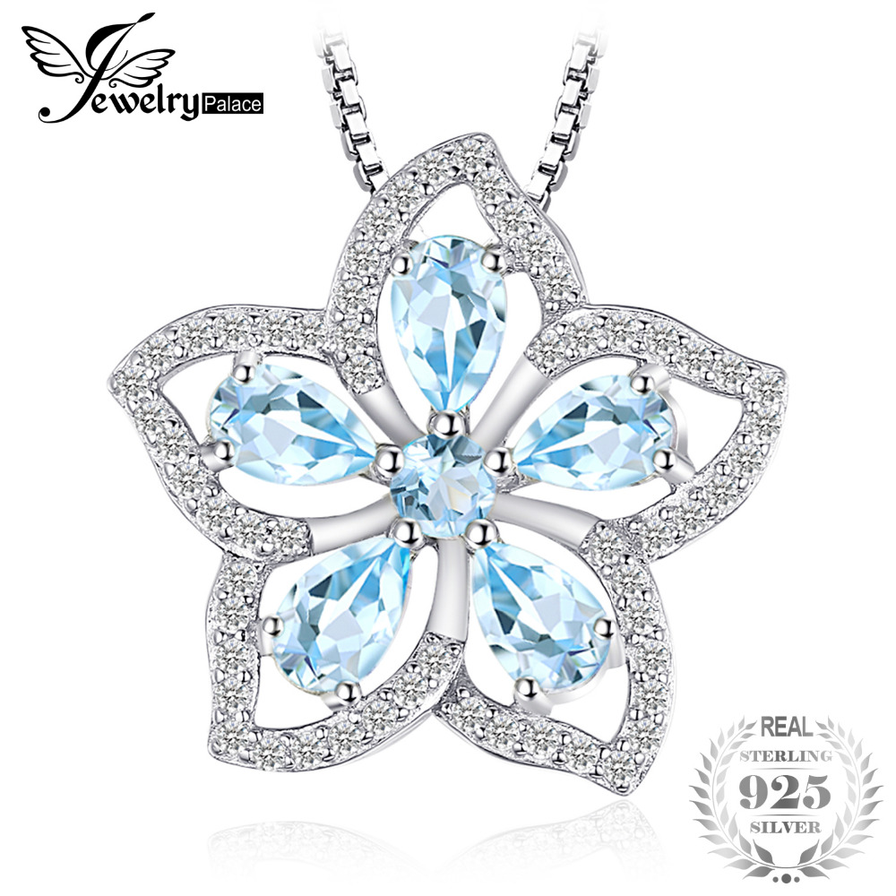 JewelryPalace Flower 1.5ct Natural Sky Blue Topaz Pendant Genuine 925 Sterling-Silver-Jewelry Brand 2018 New Not Include a Chain