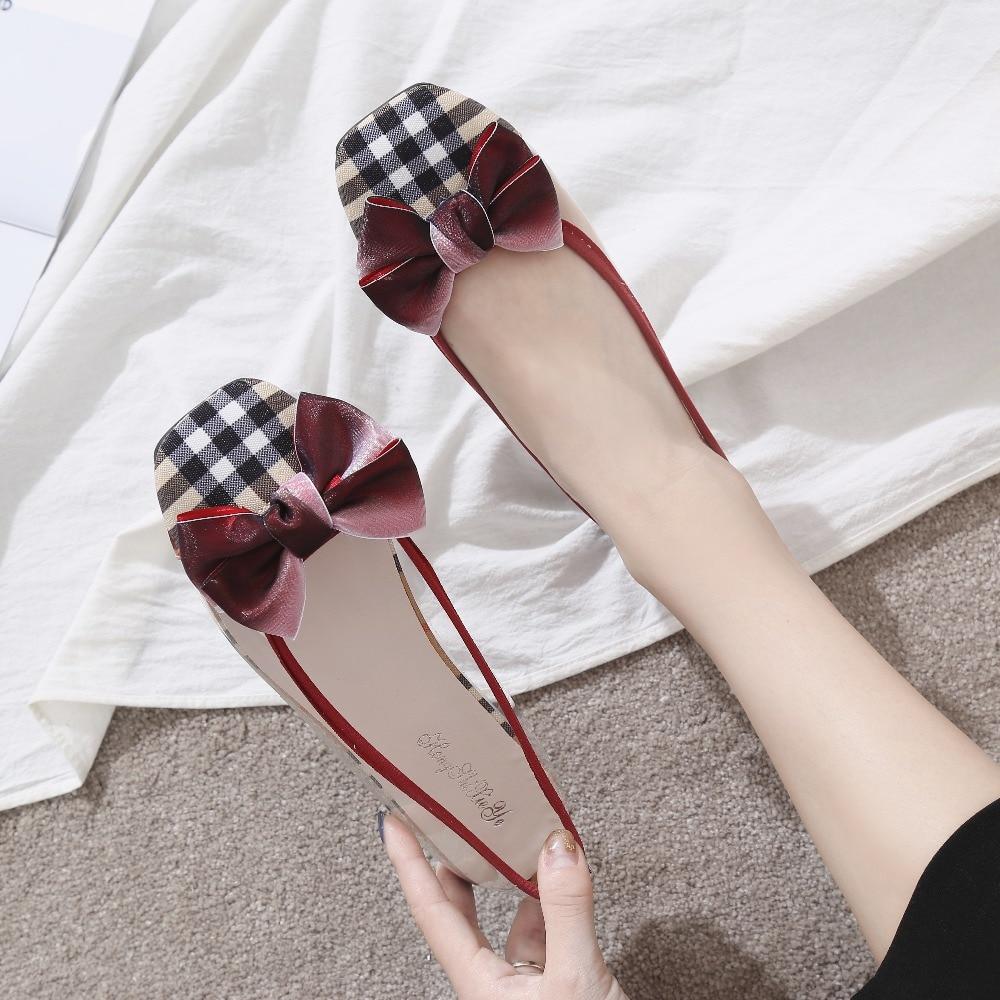 Mujer Haute kaki Transparent Mode Zapatos Rouge Papillon Vichy Kjstyrka Appartements Casual 2018 Qualité Confortable Femme Femmes Noeud 1R6qxUxw