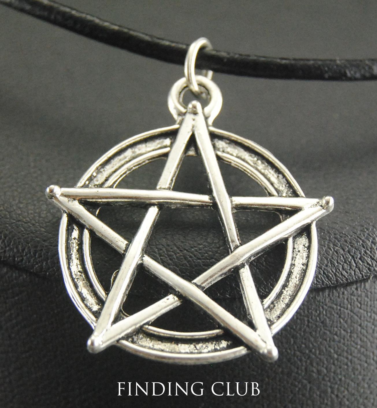 94ecf6608b26 Estrella de Plata tibetana Wicca Pentáculo Colgante Cordón de cuero negro  Collar gargantilla Collar joyería