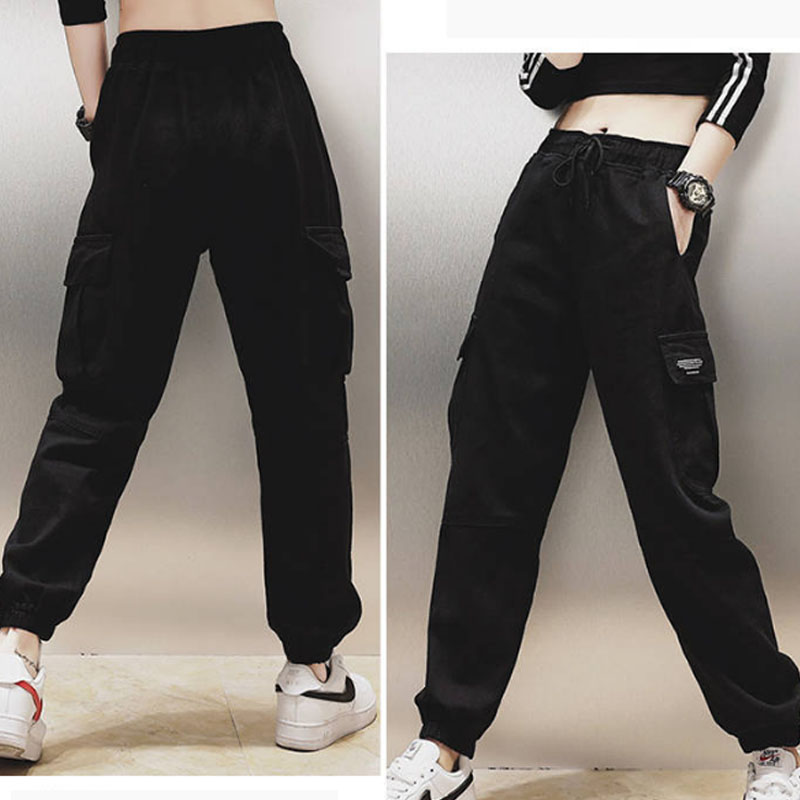 Cotton High Waist Cargo Pants 2019 Spring Pink Khaki Black Female Trousers 72