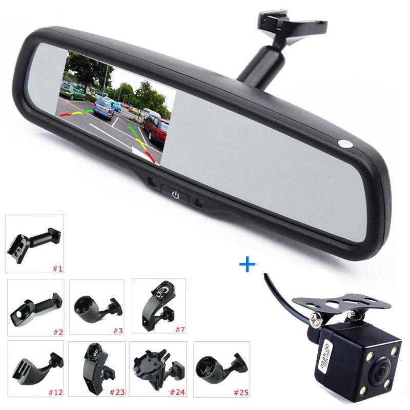 ANSHILONG 4.3 LCD Espelho Retrovisor Do Carro Monitor + Kit Câmera Reversa Estacionamento de Backup, Substituição Interior Espelho + Suporte OEM