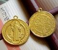 Католические Религиозные Подарки Зло Экзорцизм Защиты Санкт Бенедикт святой Медаль Большой ожерелье позолоченный Кулон Ретро