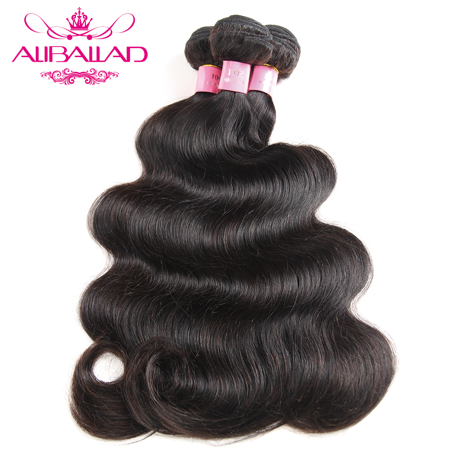 Aliballad Peruvian Hair Body Wave Bundles Natural Color Weave 3 Bundles Deals Non Remy Hair Extensions 100% Human Hair Bundles