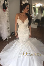 Real Images Vintage Mermaid Wedding Dresses Beading Embroidery Appliques Lace Elegant Bride Vestido De Noiva 2019