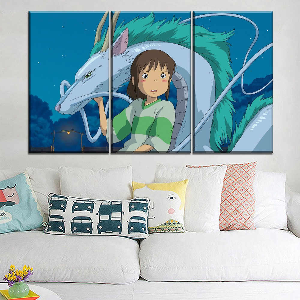 5 Piece Chihiro And Dragon Spirited Away Painting Home Decor HD Print Canvas Picture For Kids Room Wall Art Cartoon Large Poster in Painting Calligraphy from Home Garden