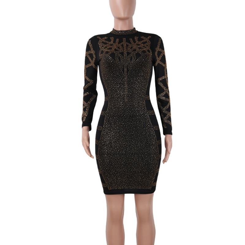Geometric rhinestones black bodycon dress women fashion long sleeve sheath sexy club dresses new chic nightclub lady party dress in Dresses from Women 39 s Clothing