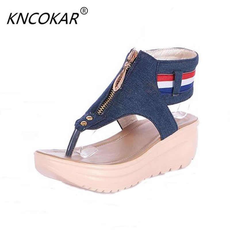 KNCOKAR spust kobiety sandały kobiet płaskie sandały z odkrytymi palcami w lecie 2016 sandały denim jeansy damskie buty w lato