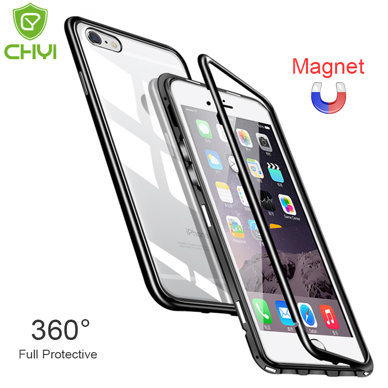 CHYI Built-in Magnetic Case for iPhone XS Max XR Tempered Glass Magnet Adsorption Case for iPhone 6 6s Plus Glass Back Cover iphone xr case magnetic