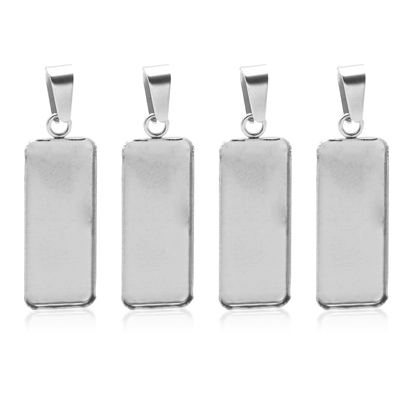 10pcs/lot Stainless Steel Rectangle Cabochon Base 10x25mm Dia Blank Charms Pendant Setting Trays With Bails Diy Jewelry Findings