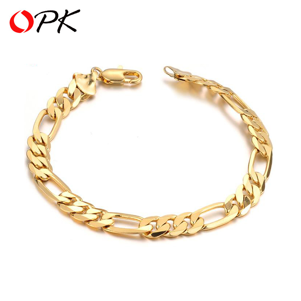 Opk 7mm 21cm Men's Bracelet New Trendy Gold Color Figaro Stainless Steel  Chain Fashion Jewelry Gift